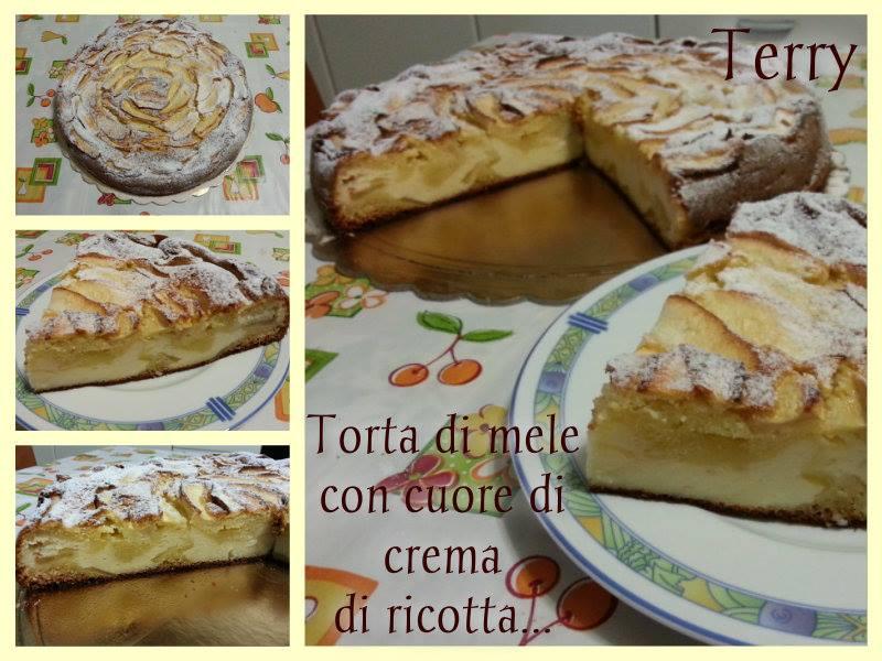 Ricetta torta di mele con cuore di crema di ricotta